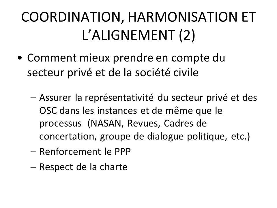 COORDINATION, HARMONISATION ET LALIGNEMENT (2) Comment mieux prendre en compte du secteur privé et de la société civile –Assurer la représentativité d