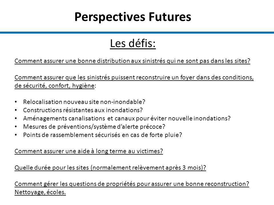 Perspectives Futures Les défis: Comment assurer une bonne distribution aux sinistrés qui ne sont pas dans les sites.