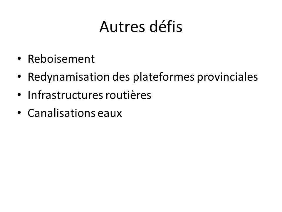 Autres défis Reboisement Redynamisation des plateformes provinciales Infrastructures routières Canalisations eaux
