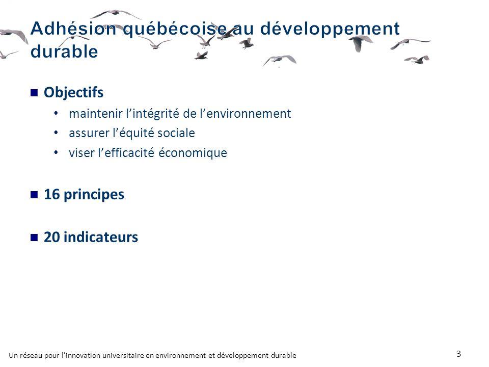 Objectifs maintenir lintégrité de lenvironnement assurer léquité sociale viser lefficacité économique 16 principes 20 indicateurs 3