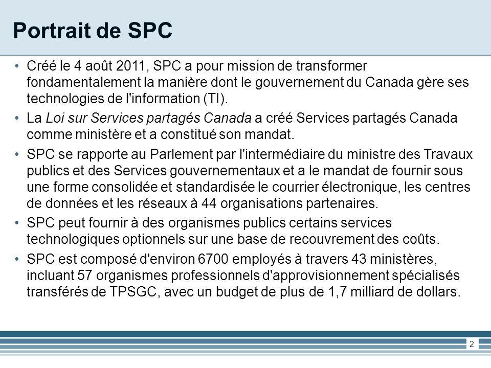 Portrait de SPC Créé le 4 août 2011, SPC a pour mission de transformer fondamentalement la manière dont le gouvernement du Canada gère ses technologies de l information (TI).