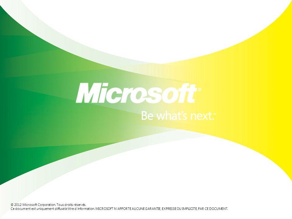 © 2012 Microsoft Corporation.Tous droits réservés.
