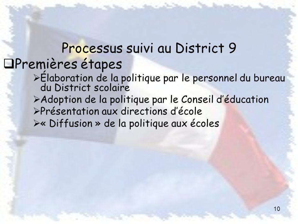 Processus suivi au District 9 Premières étapes Élaboration de la politique par le personnel du bureau du District scolaire Adoption de la politique par le Conseil déducation Présentation aux directions décole « Diffusion » de la politique aux écoles 10