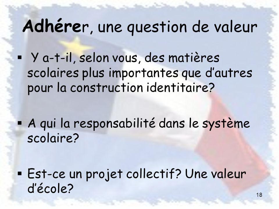 Adhére r, une question de valeur Y a-t-il, selon vous, des matières scolaires plus importantes que dautres pour la construction identitaire.