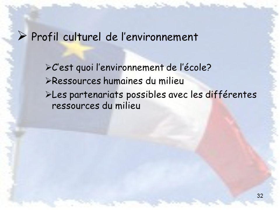 Profil culturel de lenvironnement Cest quoi lenvironnement de lécole.