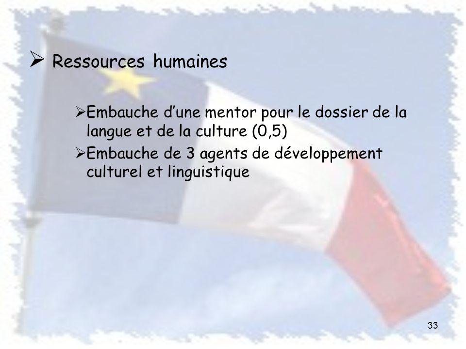 Ressources humaines Embauche dune mentor pour le dossier de la langue et de la culture (0,5) Embauche de 3 agents de développement culturel et linguistique 33