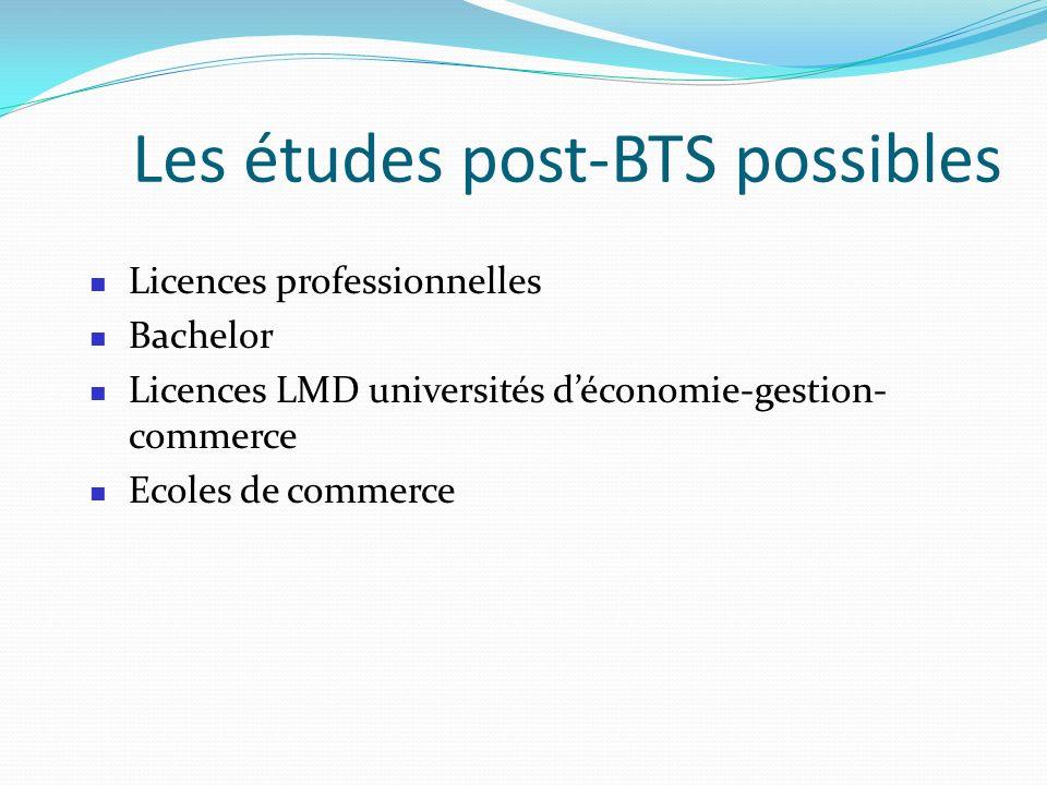 Les études post-BTS possibles Licences professionnelles Bachelor Licences LMD universités déconomie-gestion- commerce Ecoles de commerce