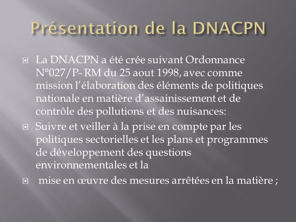 La DNACPN a été crée suivant Ordonnance N°027/P- RM du 25 aout 1998, avec comme mission lélaboration des éléments de politiques nationale en matière dassainissement et de contrôle des pollutions et des nuisances: Suivre et veiller à la prise en compte par les politiques sectorielles et les plans et programmes de développement des questions environnementales et la mise en œuvre des mesures arrêtées en la matière ;