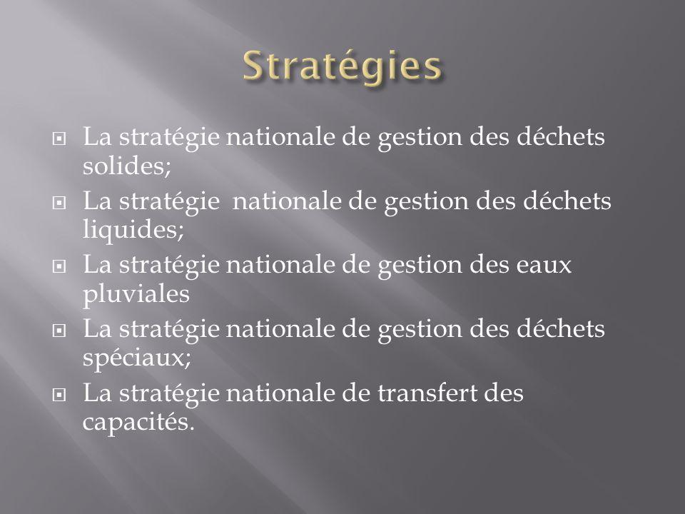 La stratégie nationale de gestion des déchets solides; La stratégie nationale de gestion des déchets liquides; La stratégie nationale de gestion des eaux pluviales La stratégie nationale de gestion des déchets spéciaux; La stratégie nationale de transfert des capacités.