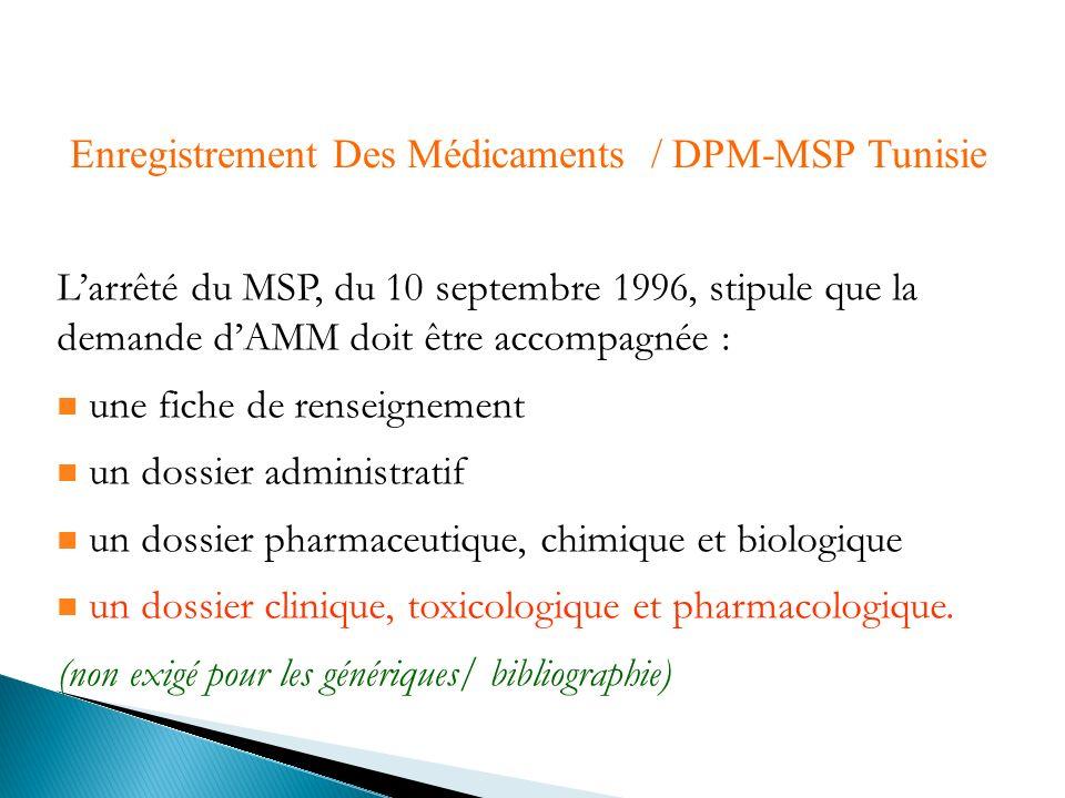 Enregistrement Des Médicaments / DPM-MSP Tunisie Larrêté du MSP, du 10 septembre 1996, stipule que la demande dAMM doit être accompagnée : une fiche d