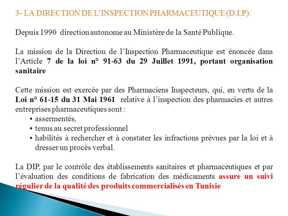 3- LA DIRECTION DE LINSPECTION PHARMACEUTIQUE (D.I.P): Depuis 1990 direction autonome au Ministère de la Santé Publique. La mission de la Direction de