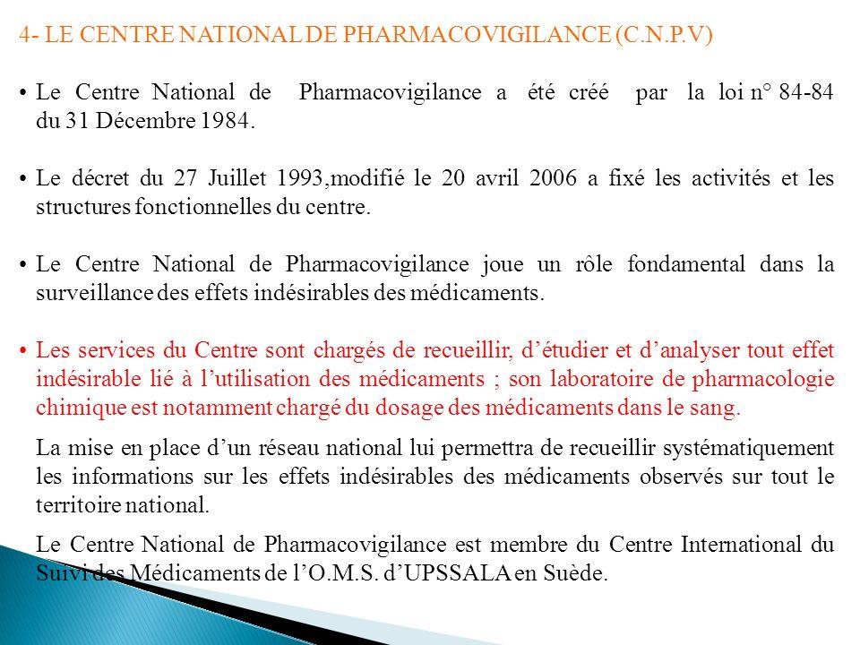 4- LE CENTRE NATIONAL DE PHARMACOVIGILANCE (C.N.P.V) Le Centre National de Pharmacovigilance a été créé par la loi n° 84-84 du 31 Décembre 1984. Le dé