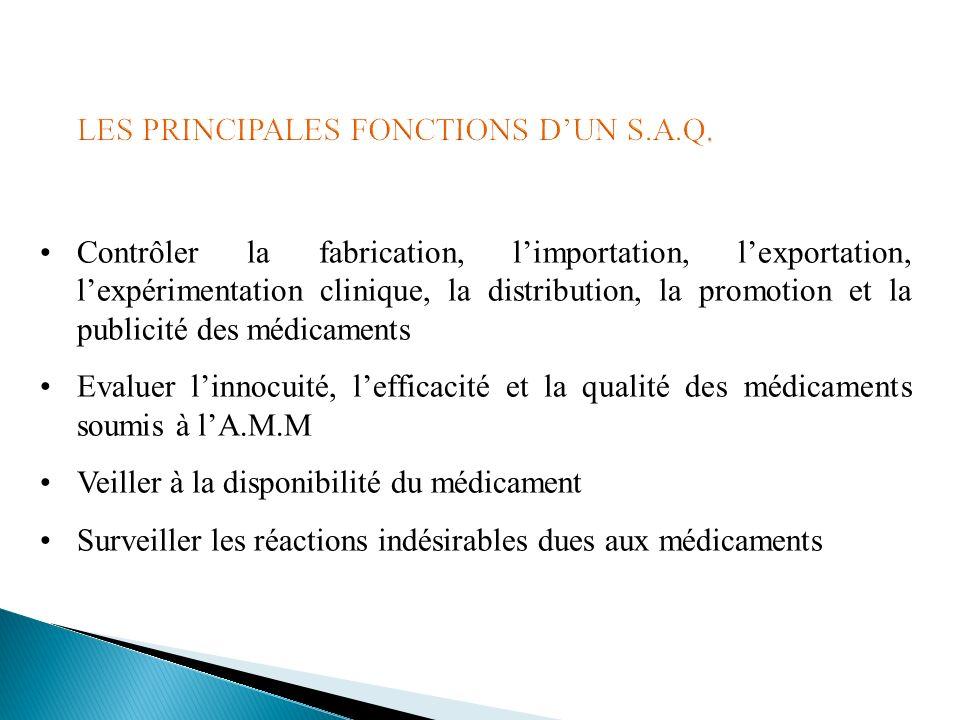 Contrôler la fabrication, limportation, lexportation, lexpérimentation clinique, la distribution, la promotion et la publicité des médicaments Evaluer