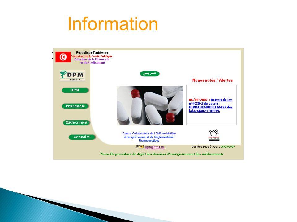 Site Web de la DPM (www.dpm.tn) Information