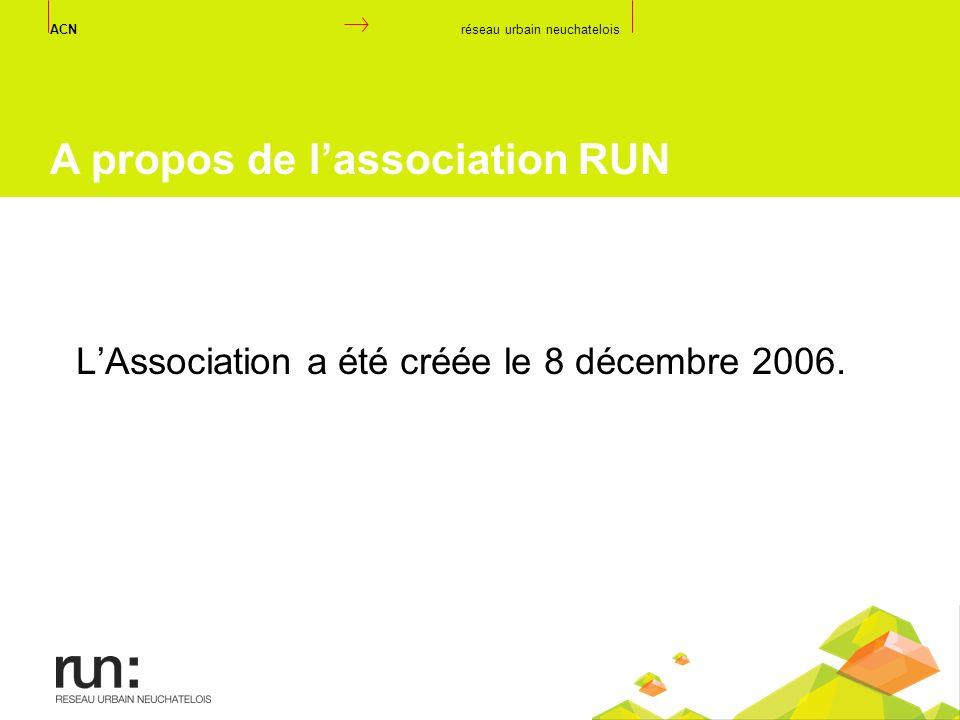 LAssociation a été créée le 8 décembre 2006. ACN réseau urbain neuchatelois A propos de lassociation RUN