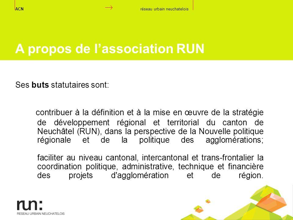 contribuer à la définition et à la mise en œuvre de la stratégie de développement régional et territorial du canton de Neuchâtel (RUN), dans la perspe