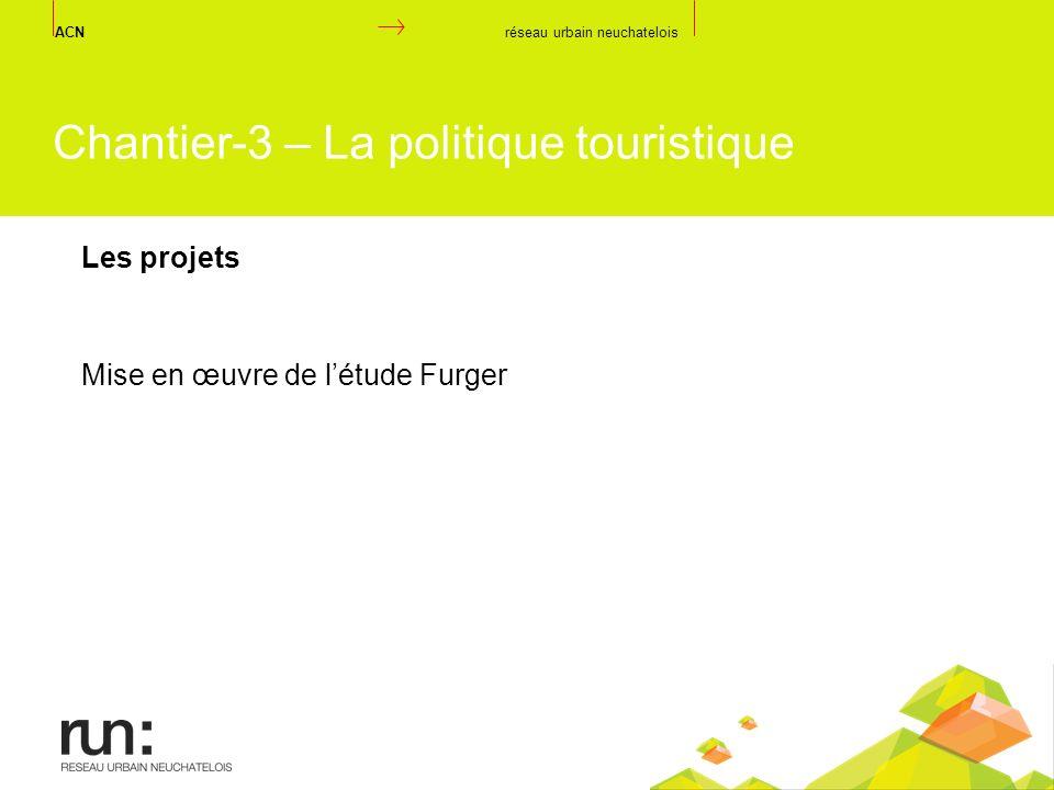 Mise en œuvre de létude Furger ACN réseau urbain neuchatelois Chantier-3 – La politique touristique Les projets