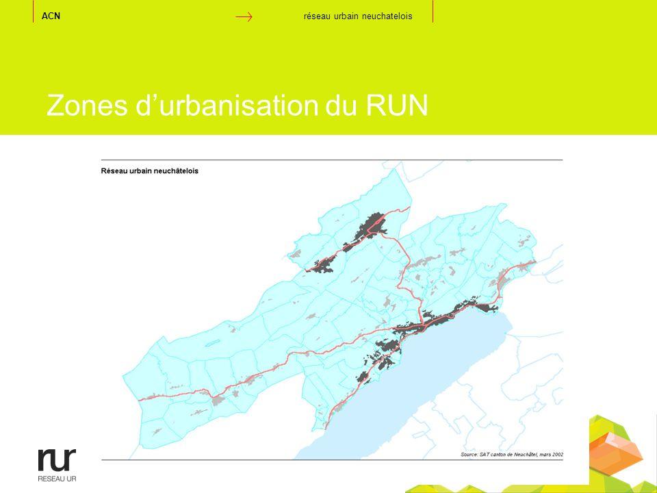 Zones durbanisation du RUN ACN réseau urbain neuchatelois