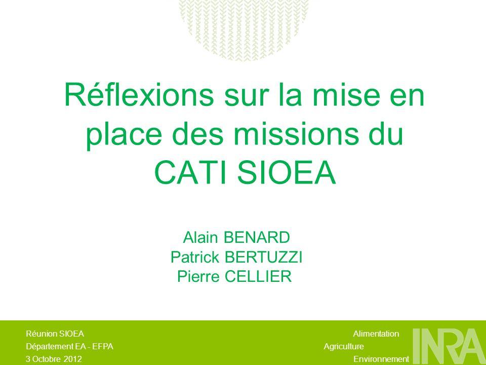 Alimentation Agriculture Environnement Réunion SIOEA Département EA - EFPA 3 Octobre 2012 Réflexions sur la mise en place des missions du CATI SIOEA Alain BENARD Patrick BERTUZZI Pierre CELLIER
