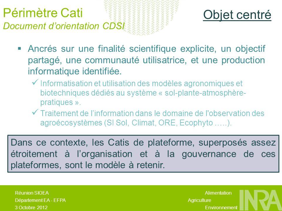Alimentation Agriculture Environnement Réunion SIOEA Département EA - EFPA 3 Octobre 2012 Périmètre Cati Document dorientation CDSI Mission de « recherche développement » délivrant des produits logiciels et de lexpertise de haut niveau insuffisamment représentés dans les Catis centrés sur un objet scientifique thématique.
