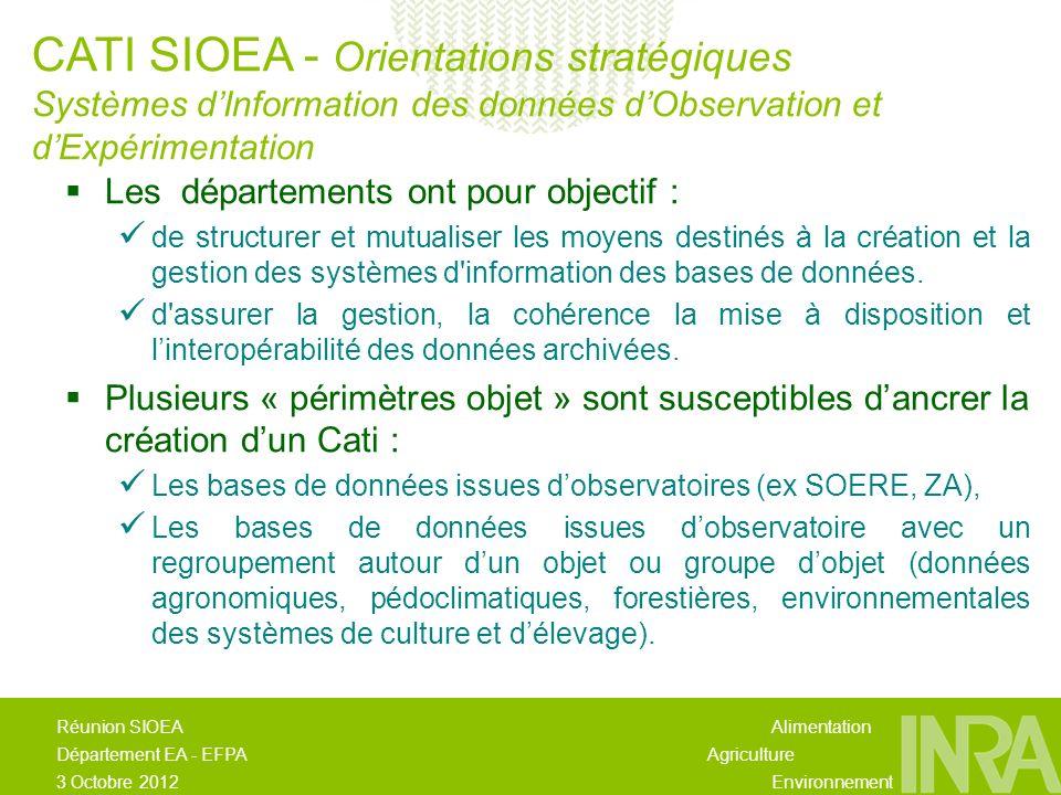 Alimentation Agriculture Environnement Réunion SIOEA Département EA - EFPA 3 Octobre 2012 Les départements ont pour objectif : de structurer et mutualiser les moyens destinés à la création et la gestion des systèmes d information des bases de données.
