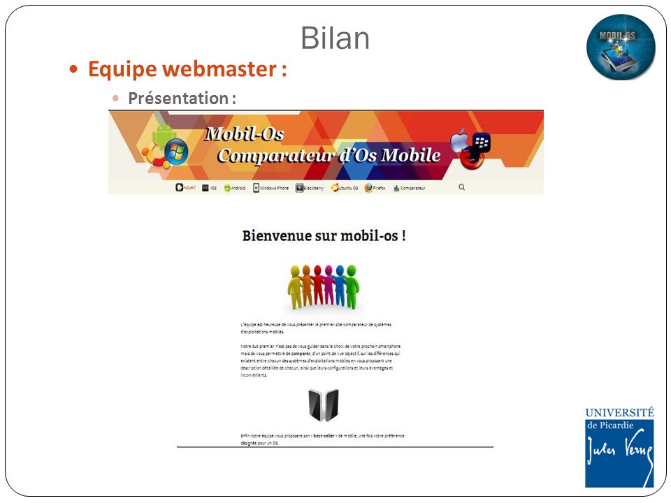 Equipe webmaster : Présentation : Bilan