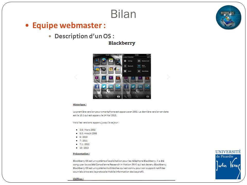 Equipe webmaster : Description dun OS :