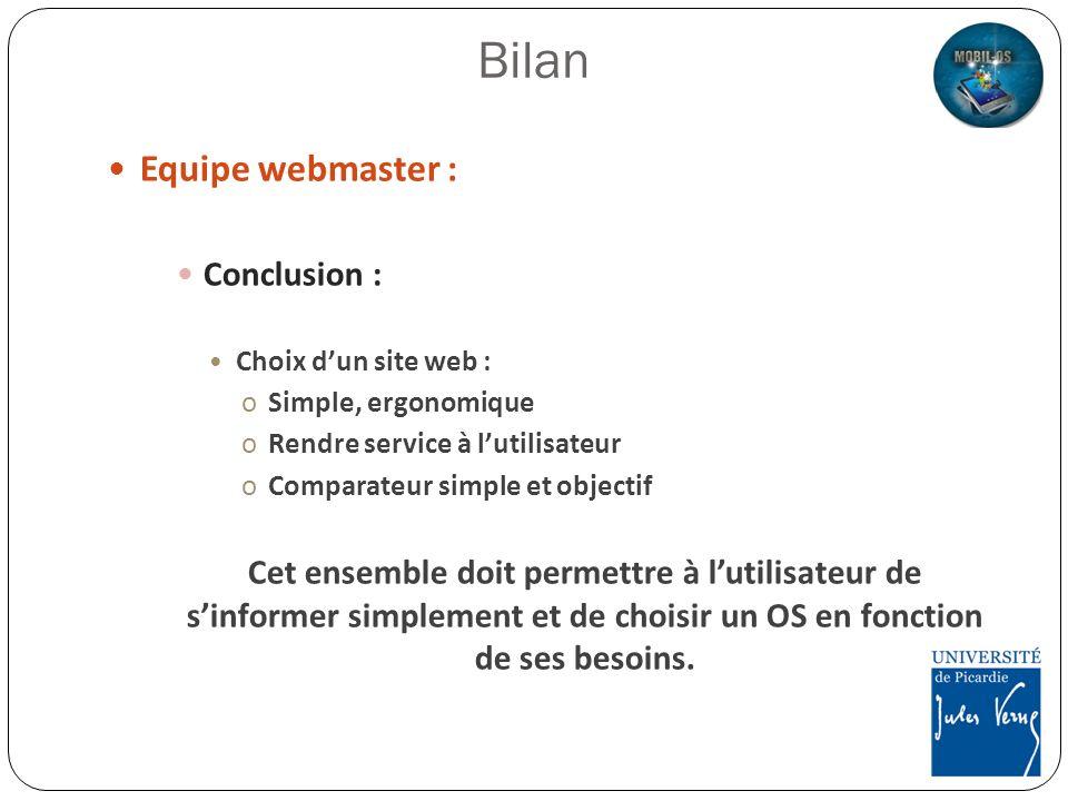 Equipe webmaster : Conclusion : Choix dun site web : oSimple, ergonomique oRendre service à lutilisateur oComparateur simple et objectif Cet ensemble