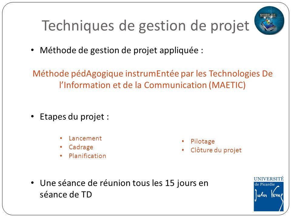 Techniques de gestion de projet Etapes du projet : Lancement Cadrage Planification Pilotage Clôture du projet Une séance de réunion tous les 15 jours