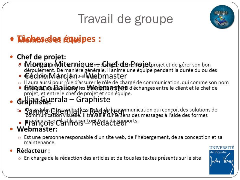 Travail de groupe Membres et rôles : Morgan Miternique – Chef de Projet Cédric Marcjan – Webmaster Etienne Dallery – Webmaster Ilias Guerala – Graphis