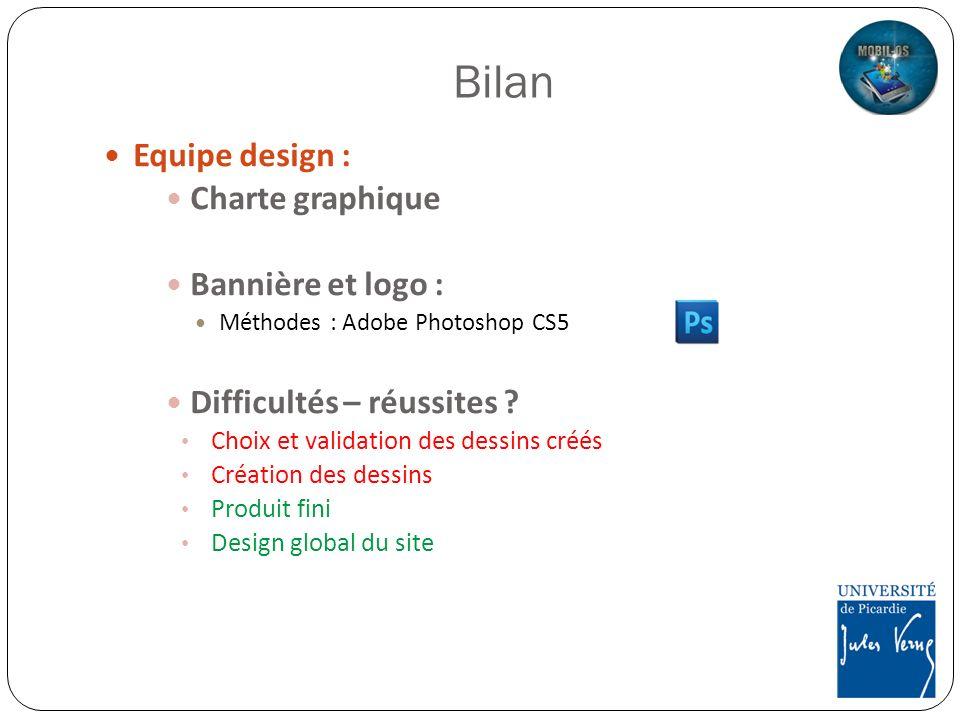 Bilan Equipe design : Charte graphique Bannière et logo : Méthodes : Adobe Photoshop CS5 Difficultés – réussites ? Choix et validation des dessins cré