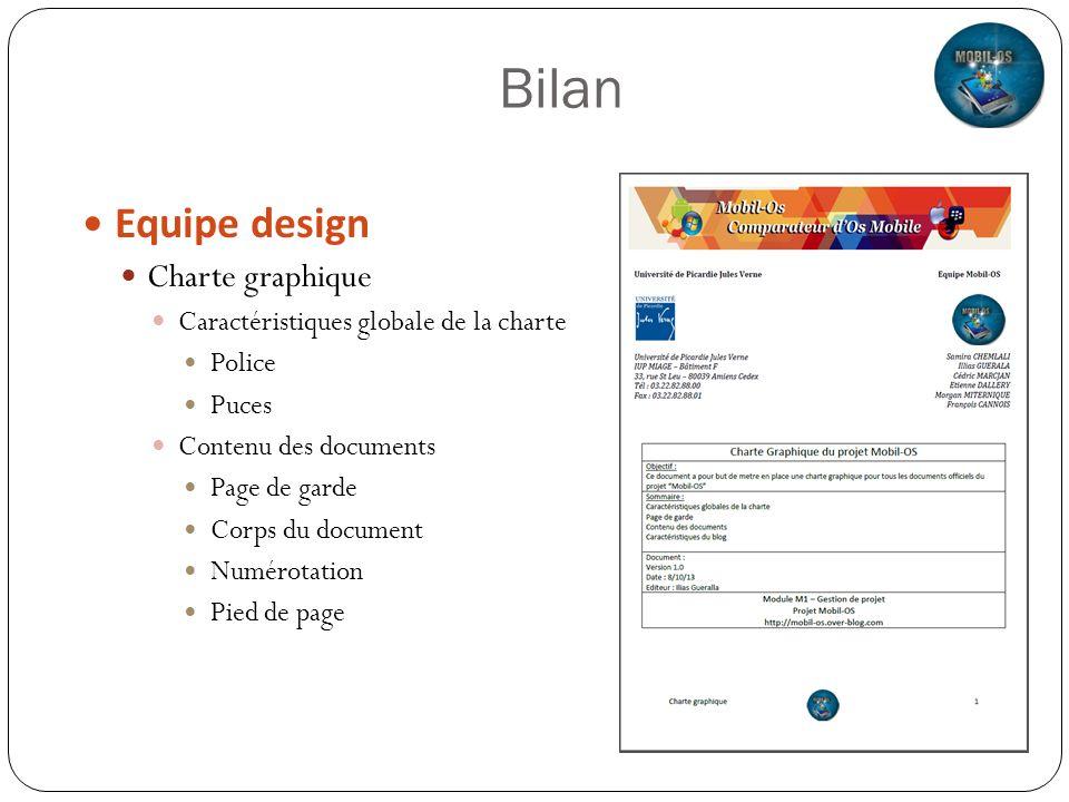 Bilan Equipe design Charte graphique Caractéristiques globale de la charte Police Puces Contenu des documents Page de garde Corps du document Numérota