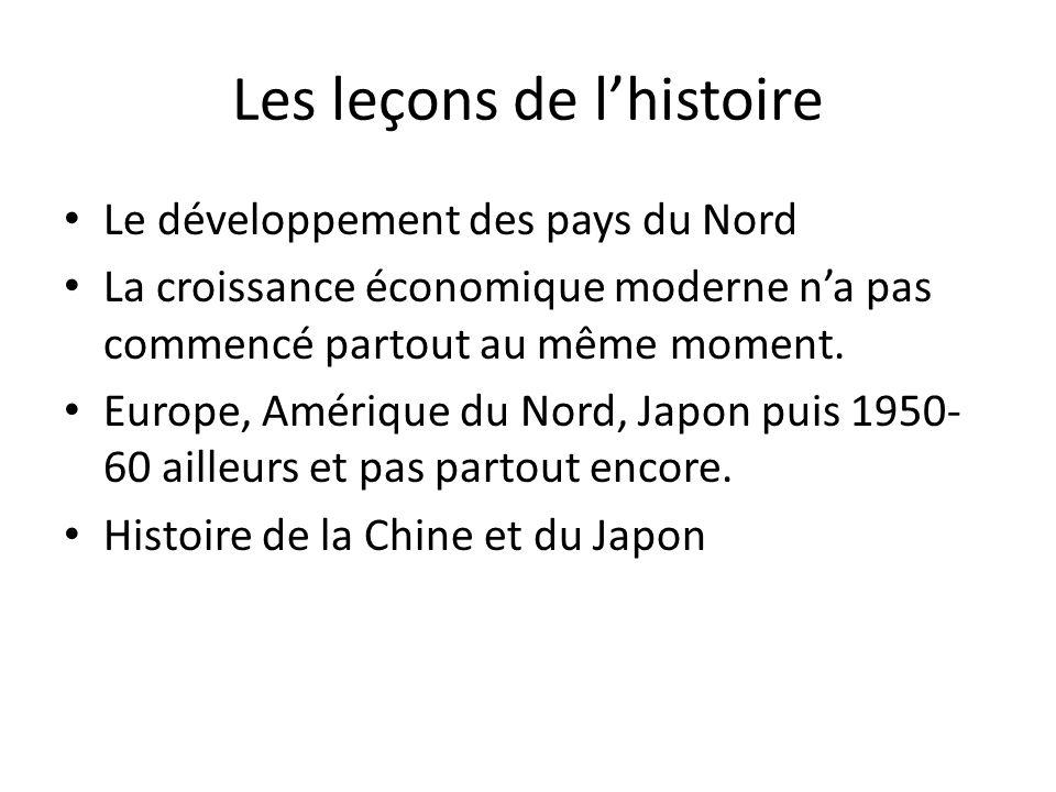 Les leçons de lhistoire Le développement des pays du Nord La croissance économique moderne na pas commencé partout au même moment.