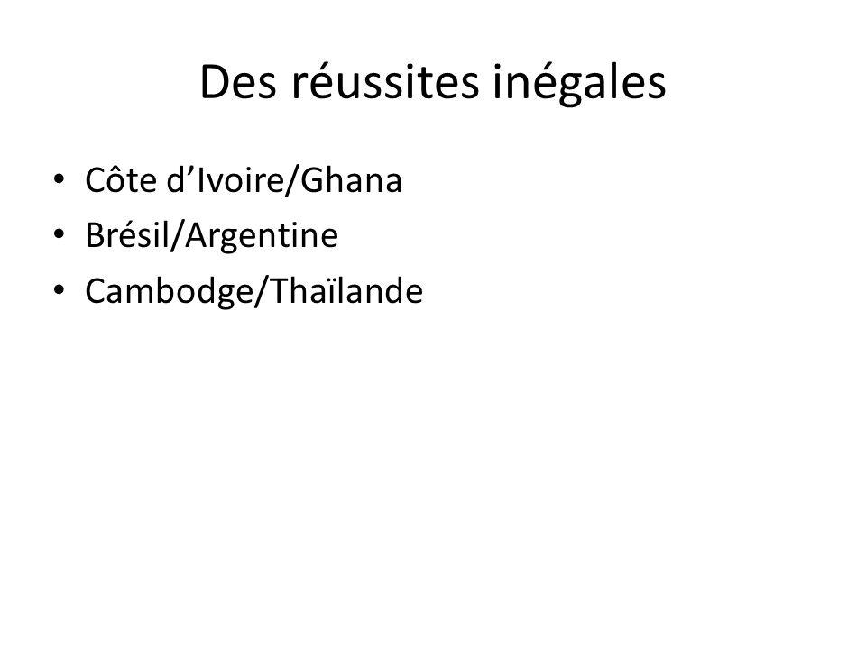 Des réussites inégales Côte dIvoire/Ghana Brésil/Argentine Cambodge/Thaïlande