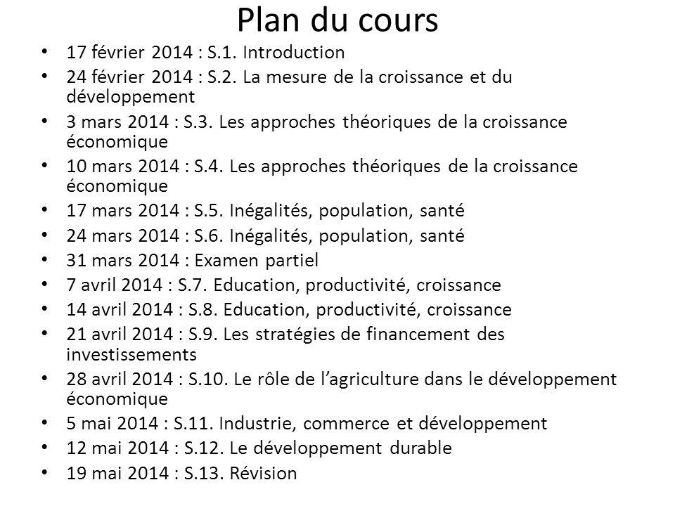 Plan du cours 17 février 2014 : S.1.Introduction 24 février 2014 : S.2.