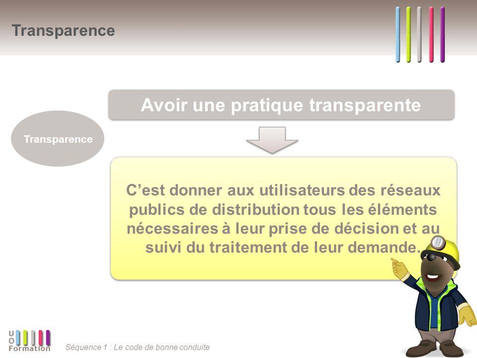 Séquence 1 : Le code de bonne conduite Cest donner aux utilisateurs des réseaux publics de distribution tous les éléments nécessaires à leur prise de