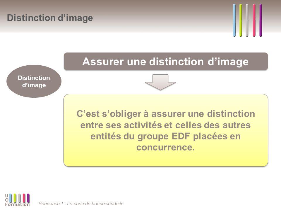 Séquence 1 : Le code de bonne conduite Distinction dimage Assurer une distinction dimage Distinction dimage Cest sobliger à assurer une distinction en