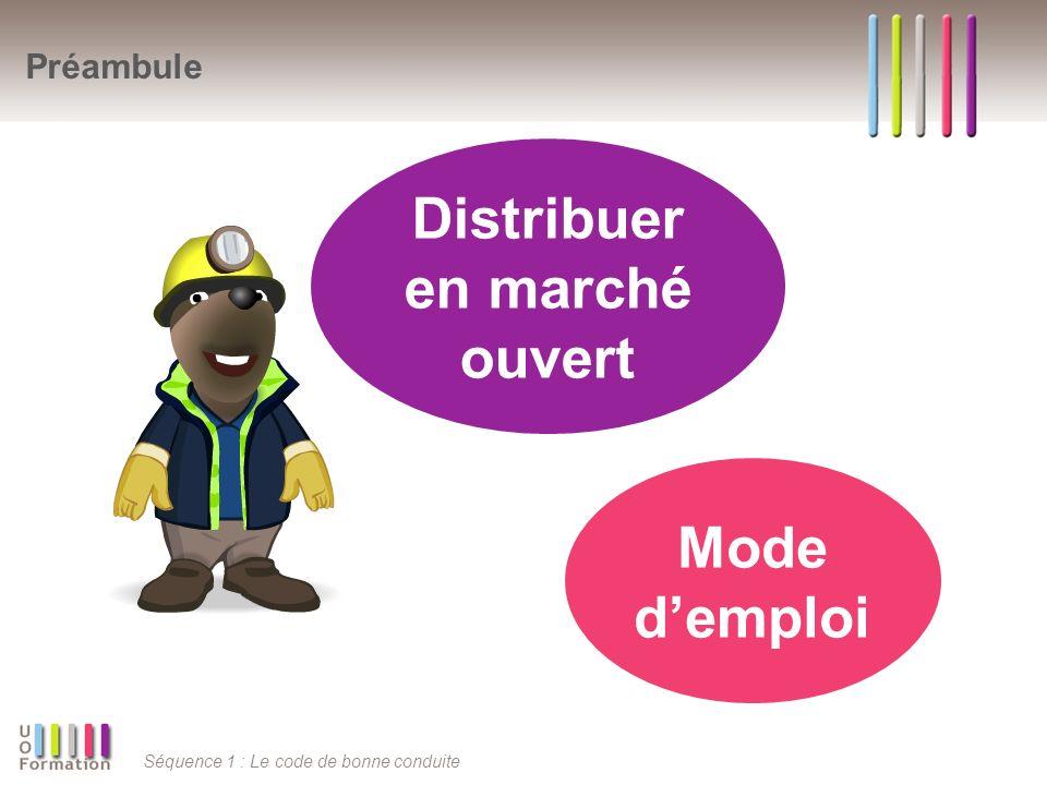 Séquence 1 : Le code de bonne conduite Sommaire Distribuer en marché ouvert Egalité de traitement Distinction dimage Protection des I.C.S.