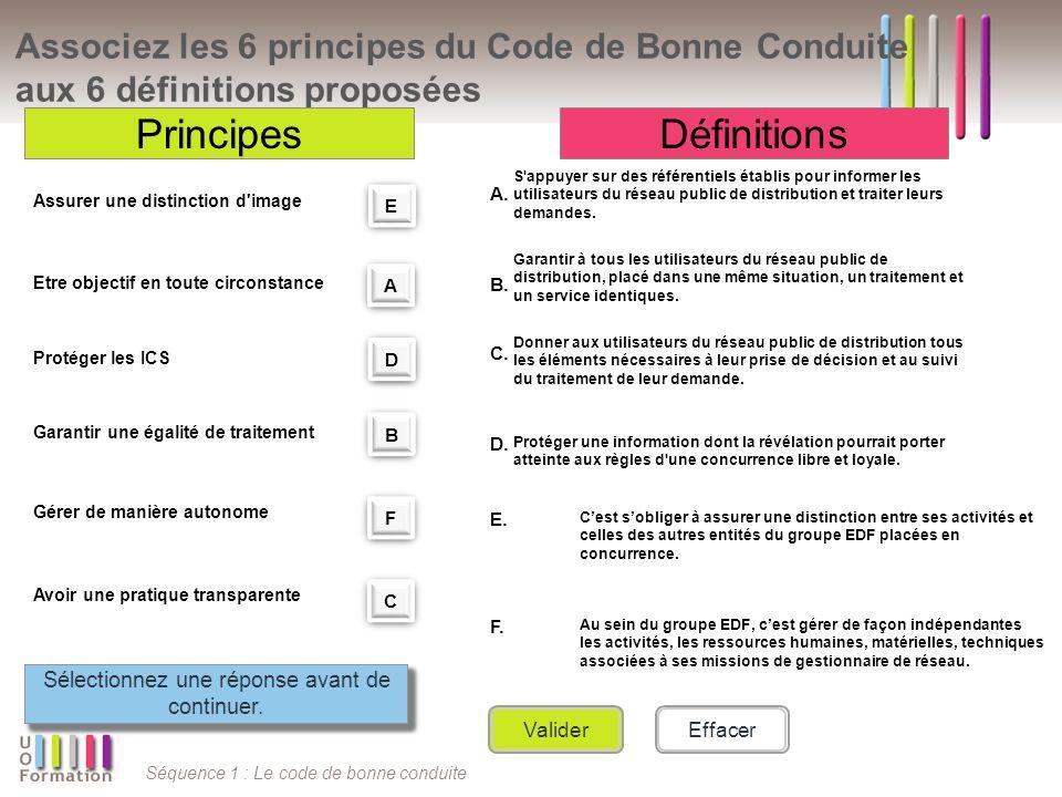 Séquence 1 : Le code de bonne conduite Associez les 6 principes du Code de Bonne Conduite aux 6 définitions proposées PrincipesDéfinitions A. S'appuye