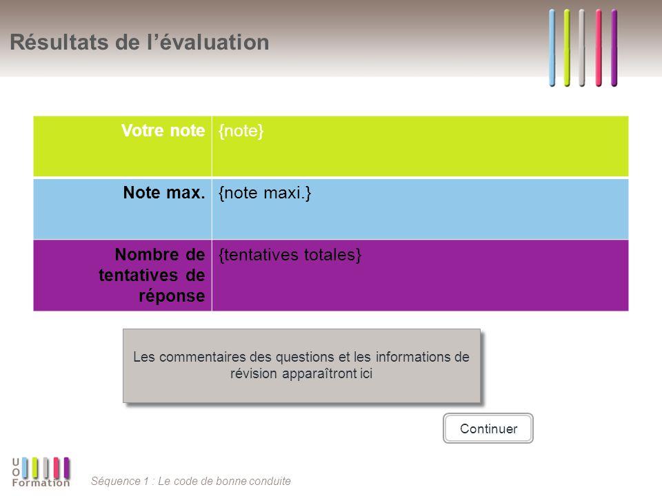 Séquence 1 : Le code de bonne conduite Résultats de lévaluation Votre note{note} Note max.{note maxi.} Nombre de tentatives de réponse {tentatives tot