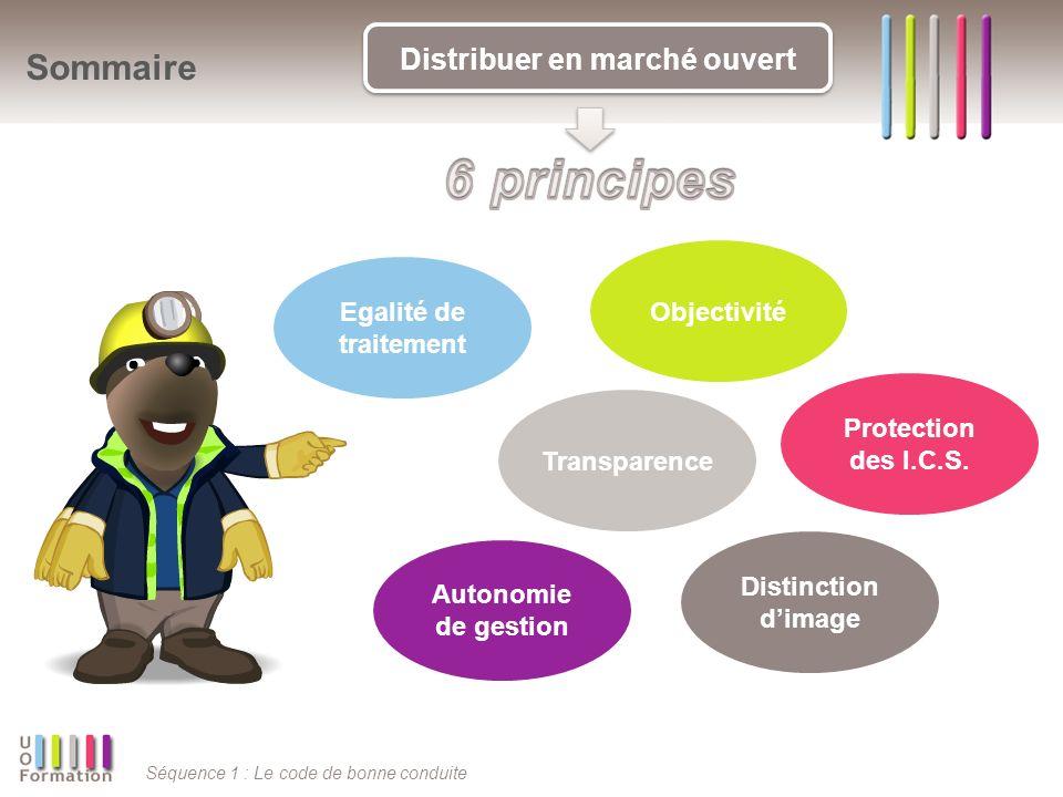 Séquence 1 : Le code de bonne conduite Sommaire Distribuer en marché ouvert Egalité de traitement Distinction dimage Protection des I.C.S. Autonomie d