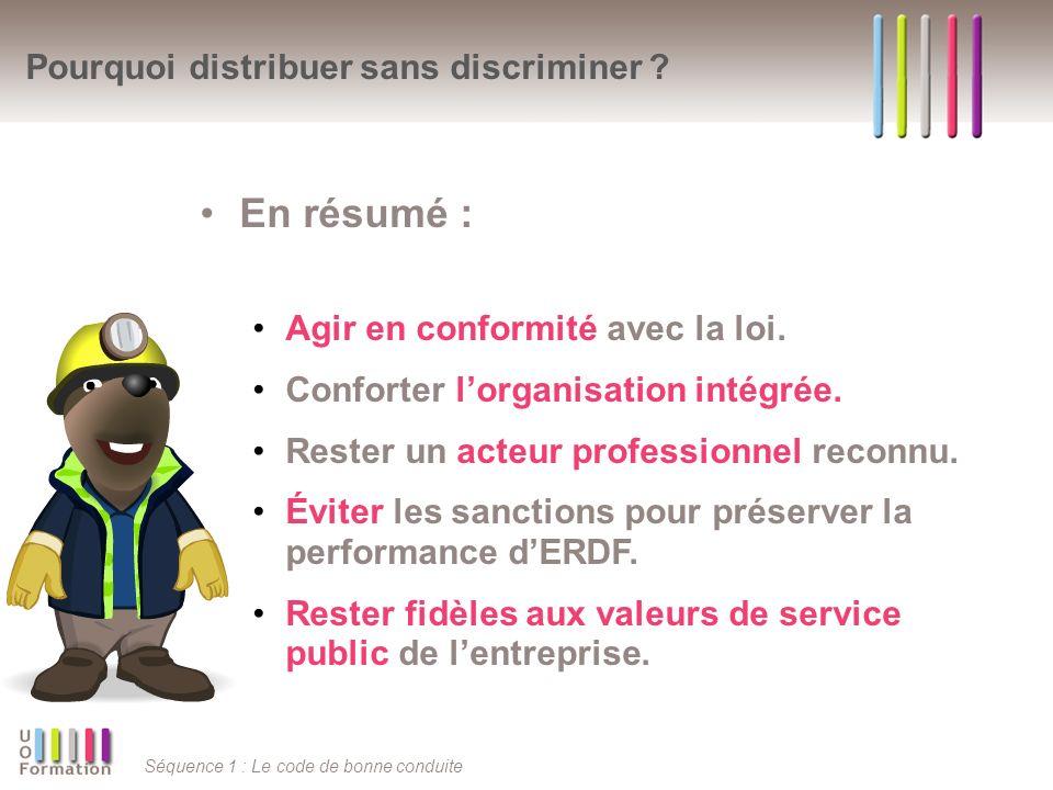 Séquence 1 : Le code de bonne conduite Pourquoi distribuer sans discriminer ? En résumé : Agir en conformité avec la loi. Conforter lorganisation inté