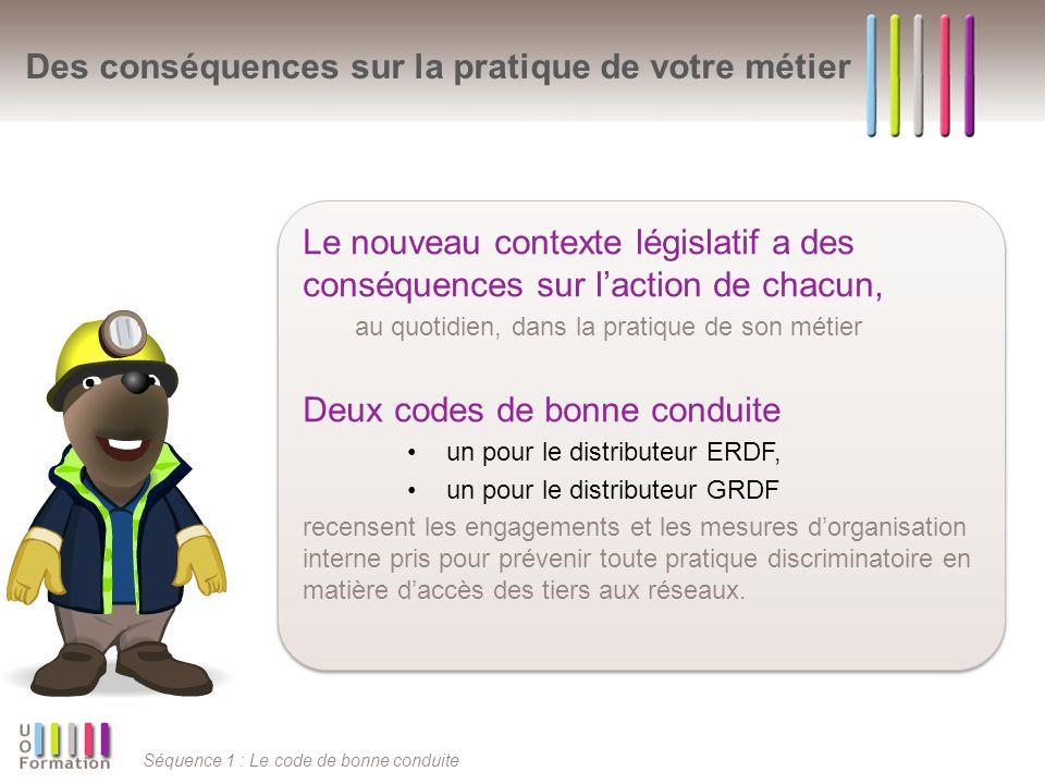 Séquence 1 : Le code de bonne conduite Des conséquences sur la pratique de votre métier Le nouveau contexte législatif a des conséquences sur laction