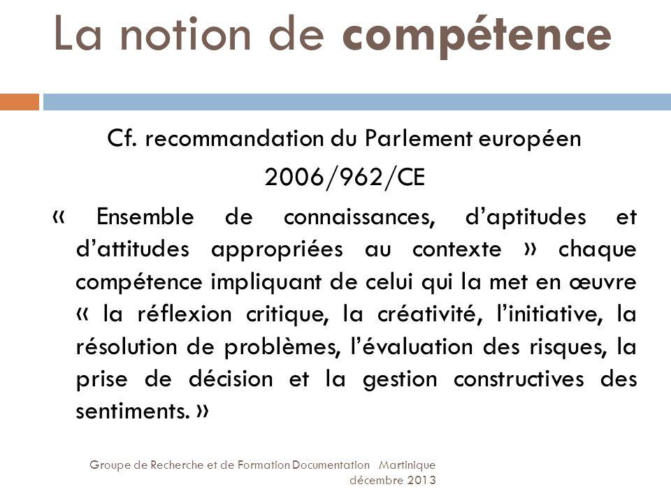 La notion de compétence Groupe de Recherche et de Formation Documentation Martinique décembre 2013 Cf. recommandation du Parlement européen 2006/962/C