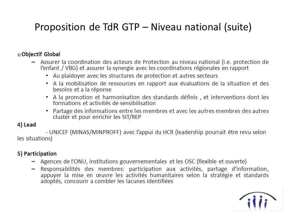 Proposition de TdR GTP – Niveau national (suite) 3) Objectif Global – Assurer la coordination des acteurs de Protection au niveau national (i.e. prote