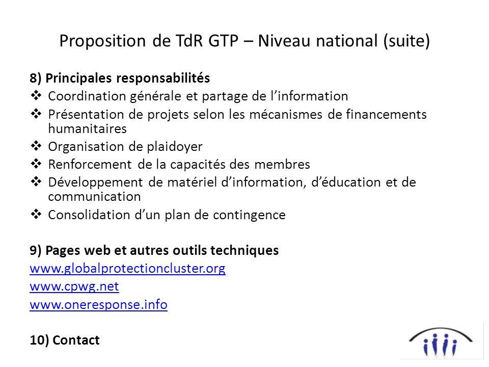 Proposition de TdR GTP – Niveau national (suite) 8) Principales responsabilités Coordination générale et partage de linformation Présentation de proje