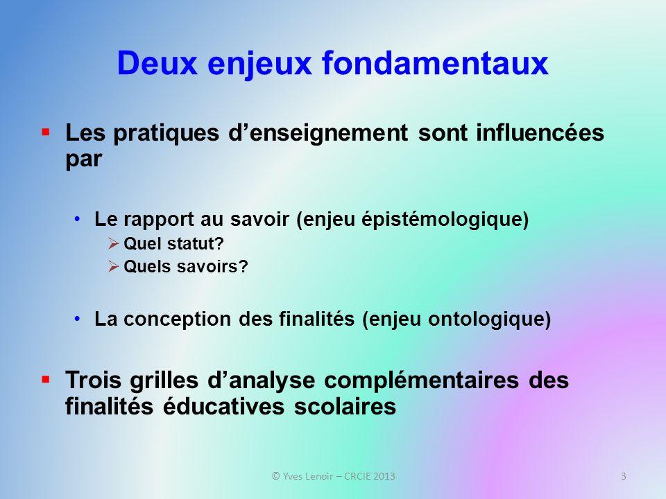 Deux enjeux fondamentaux Les pratiques denseignement sont influencées par Le rapport au savoir (enjeu épistémologique) Quel statut.