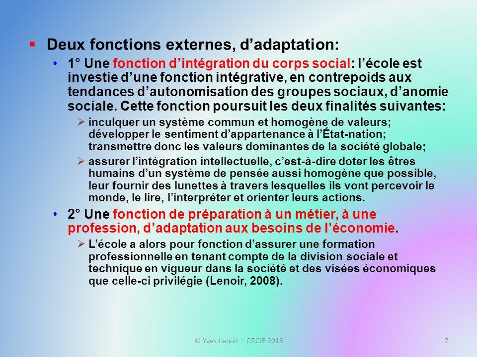 Deux fonctions externes, dadaptation: 1° Une fonction dintégration du corps social: lécole est investie dune fonction intégrative, en contrepoids aux tendances dautonomisation des groupes sociaux, danomie sociale.