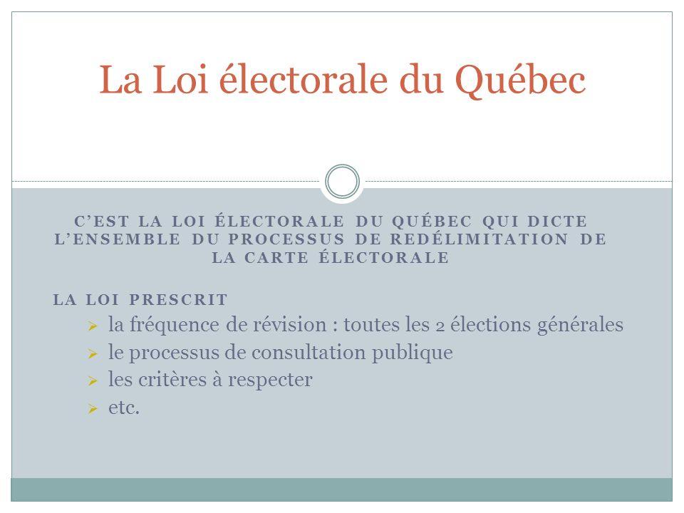 CEST LA LOI ÉLECTORALE DU QUÉBEC QUI DICTE LENSEMBLE DU PROCESSUS DE REDÉLIMITATION DE LA CARTE ÉLECTORALE La Loi électorale du Québec LA LOI PRESCRIT la fréquence de révision : toutes les 2 élections générales le processus de consultation publique les critères à respecter etc.
