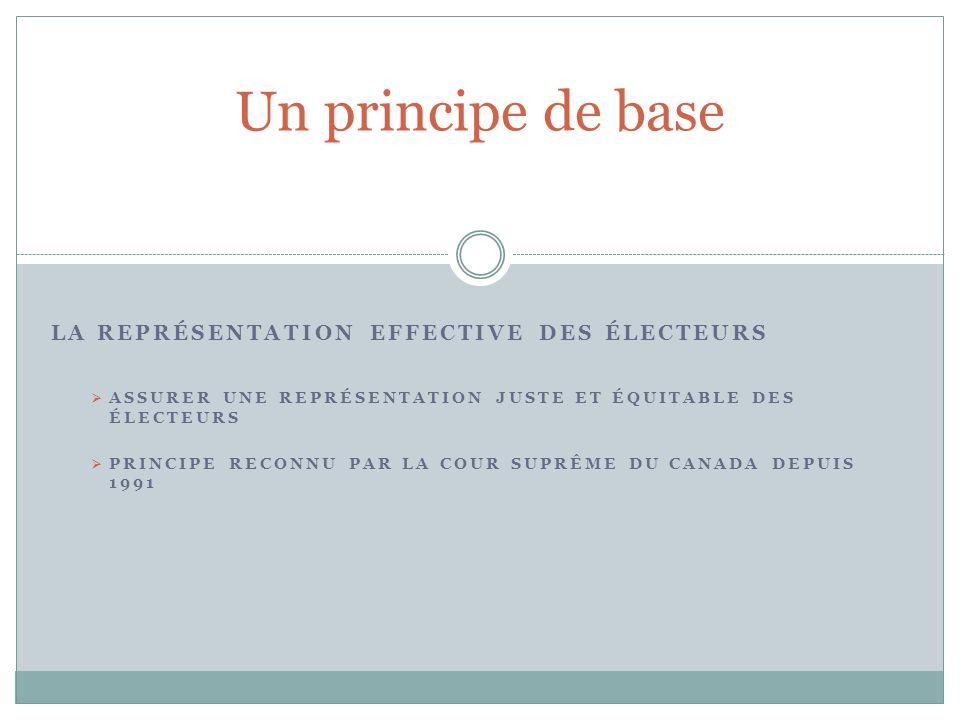 LA REPRÉSENTATION EFFECTIVE DES ÉLECTEURS Un principe de base ASSURER UNE REPRÉSENTATION JUSTE ET ÉQUITABLE DES ÉLECTEURS PRINCIPE RECONNU PAR LA COUR SUPRÊME DU CANADA DEPUIS 1991